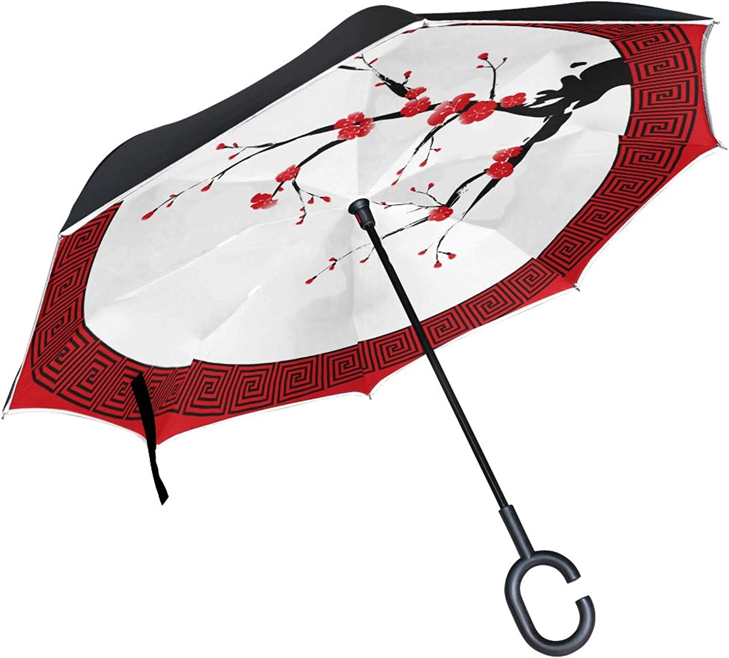 Double Layer Ingreened Oriental Style Painting Plum Blossom Cherry Umbrellas Reverse Folding Umbrella Windproof Uv Predection Big Straight Umbrella for Car Rain Outdoor with CShaped Handle