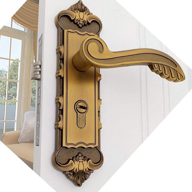 合法コインカバレッジヨーロッパの美しい柄ヴィンテージドアロック亜鉛合金ドアロックレトロ寝室のドアハンドルロックインテリア盗難防止合金ルームセーフティドアロック (Color : Gold)