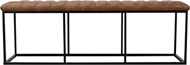 HomePop Faux Leather Button Tufted Decorative Bench with Metal Base, Brown
