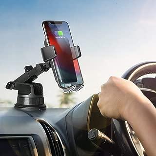 車載Qi ワイヤレス充電器 車載 ホルダー 【2019特許取得】10W/7.5W 急速ワイヤレス充電 エアコン吹き出し口&吸盤式両用/特殊粘着ゲル吸盤 iPhone X/iPhone 8 /iPhone 8 Plus/Galaxy S9 /S9 Plus /Note8 /S8 /S8 Plus / S7 /S7 Edge/Note 5 /S6 Edge Plus/多機種対応