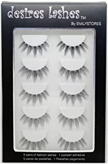 DESIRES LASHES By EMILYSTORES Natural Strip Eyelashes Multipack 5Pairs Per Kits, 03 Wednesday