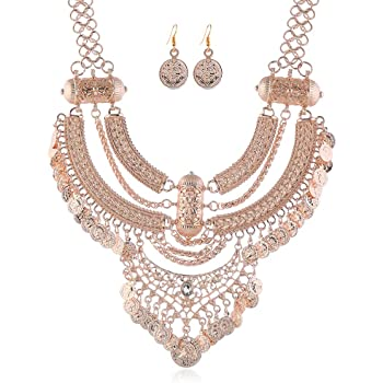 LZHLQ Fashion Bib Necklace for girl Bohemian Coin Statement Necklace and earrings Punk Ethnic Style Jewelry Set for Women
