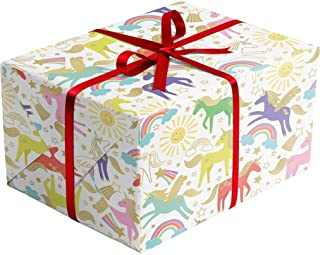 Unicorn Gift Wrapping Paper – 30 Inch x 10 Foot – Folded Flat Sheet - Premium Quality Printed in Italy