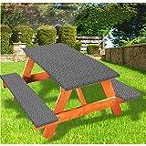 Zellige - Mantel de mesa y banco de picnic tradicional, diseño de azulejos arabesque con borde elástico, 28 x 72 pulgadas, juego de 3 piezas para camping, comedor, exterior, parque, patio