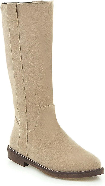 AIWEIYi Womens Elegant Retro Style Winter Snow Boots Flat Knee High Riding Boots Black