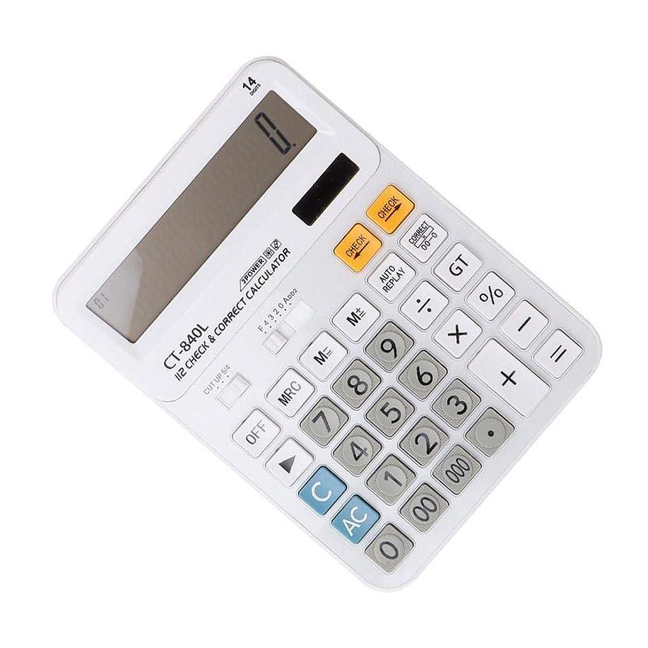 ハブブ前進薬理学電卓、14桁電卓大型LCDディスプレイデュアルパワードライブ電子計算機チェック機能に戻る大型ボタンソーラーパワー電卓(2#)