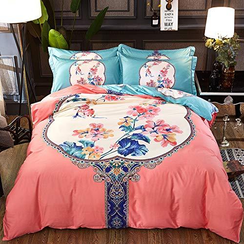 Katoen in Chinese stijl, grote versie van de bruiloftsbloem vier sets dekbed bruiloft katoen beddengoed slot parelgordijn poeder 1,8 m bed met vier sets