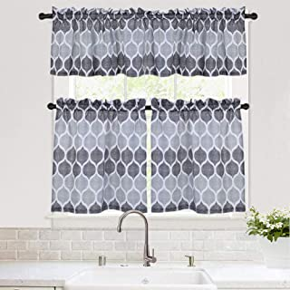Haperlare 3 Pieces Kitchen Window Curtain Set, Moroccan Kitchen Tier Curtains and Valance Set for Cafe Bathroom, Trellis Design Living Room Curtain Sets, 24-Inch, Gray/Silver