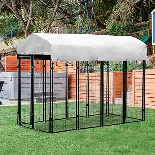 Polar Aurora Dog Playpen House Heavy Duty Large Outdoor Dog Kennel Galvanized Steel Fence with UV-Resistant Oxford Cloth Roof & Secure Lock (4' x 6' x 8')