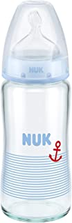 NUK First Choice+ Glass Baby Bottle 240 ml Size 1 Medium 0-6 Months with Anti-Colic, Silicone for Milk Feeds Blue