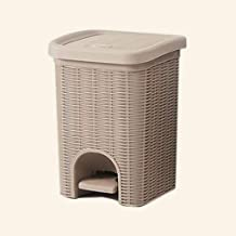 YbauShop Household Pedal Trash Can Covered Paper Basket Rattan Garbage Storage Box Waste Recycling Bin, 10 Liters Kitchen,...