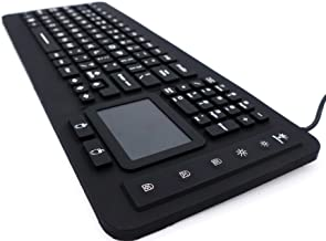 DSI LED Backlit Industrial IP68 Waterproof Silicone Keyboard with Touchpad IKB98BL