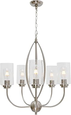 TODOLUZ 5-Lights Glass Pendant Light Farmhouse Chandelier Hanging Lighting Fixture with Seeded Glass Shades for Kitchen Islan