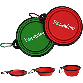 Pawssimo 2 Pack Collapsible Silicone Dog, Cat Food & Water Bowl | Multi Use, Travel Cup BPA Free Dishwasher Safe | Compact Dish, Free Carabiner