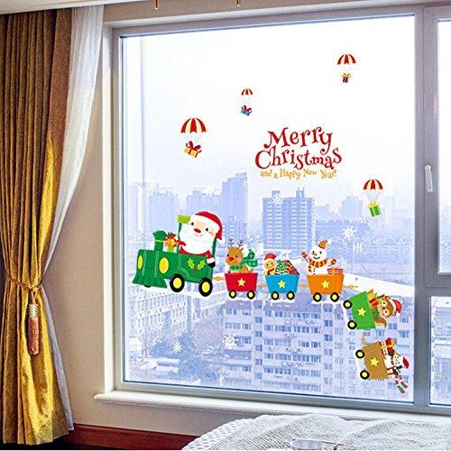 YYH Joyeux Noël Petit Train PVC Chambre d'enfant Décoration Décalcomanies Nouvel an Garderie Verre de Fenêtre DIY Stickers Muraux Protection environnementale