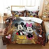 LKFFHAVD Disney Mickey Mouse - Juego de cama (funda nórdica y funda de almohada, 100% microfibra, para adultos y niños (140 x 210 cm, 18 cm)