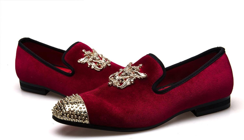 JITAI Genuine Leather Mens Metallic Textured Slip-on Glitter Loafers shoes