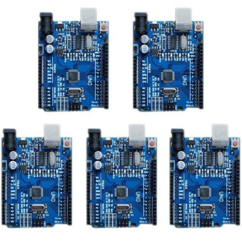 waves 5個 ケース付 Arduino UNO R3 互換品 開発ボード 学習ボード 国内配送 USBケーブル付属