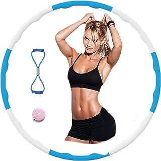 AolKee Afneembare hoelahoep fitness voor volwassen kinderen, Wave-oefening Hula Hoop-golfschuim met oefenband 8-vormig, he...