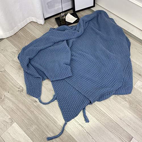 XUMINGLSJ Mantas para Sofa, Mantas para Cama de Franela Reversible, Mantas Ligeras de 100% Microfibra - Fácil De Limpiar - Extra Suave Cálido -Azul Oscuro_El 130cmx170cm