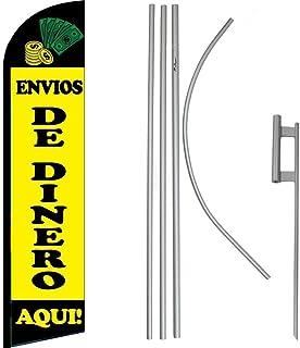 Black Windless Banner Advertising Marketing Flag Envios De Dinero Aqui Yellow
