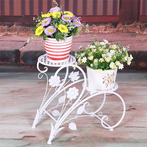Panoplie de fleurs en fer Pastoral 2 couches Étagère en pot de plancher en bois Salle de séjour intérieure Cadre en pot (76 * 26 * 70cm) (Couleur : Blanc)