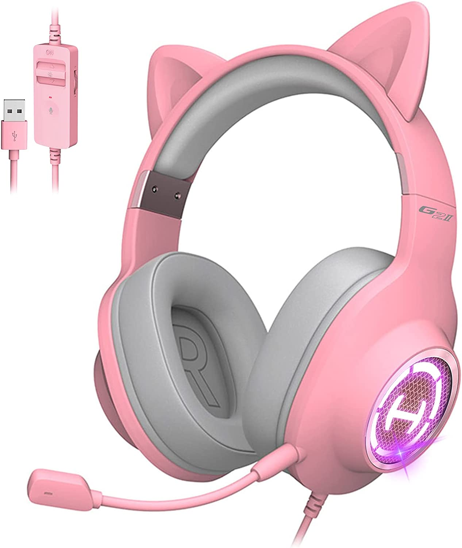 Edifier HECATE G2 II Pink Cat Ear Gaming Headset USB Wired Headphones