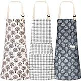 3pcs Cooking Apron with Pocket, Adjustable Cotton Linen Kitchen Apron Chef Apron for Women Men
