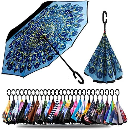 Siepasa Double Layer Inverted Umbrella with C Shaped Handle Anti UV Waterproof Windproof Straight product image