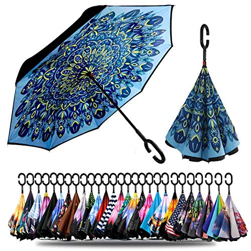 Siepasa Double Layer Inverted Umbrella with C-Shaped Handle, Anti-UV Waterproof Windproof Straight Umbrella for Car Rain Outdoor Use(Indian Style)