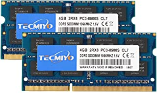 TECMIYO 8GB Kit(2X4GB) PC3-8500S DDR3 1066MHz/1067MHz Sodimm 2RX8 Dual Rank 204 Pin 1.5V CL7 Non-ECC Módulo de Memoria RAM de portátil sin búfer para Intel AMD y Sistema Mac