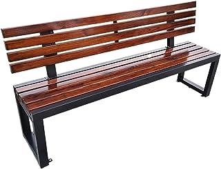 テラスガーデンベンチ屋外ベンチ、背もたれ付き公園ベンチ、屋外防食無垢材シート、全天候型ポーチチェア,デッキ/芝生/チャンネルの場合、2〜3人を収容でき、耐力:1764lb