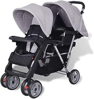 2 in 1 Babywagen Geschwisterwagen Zwillingsbuggy Geschwister-Kinderwagen Stahl