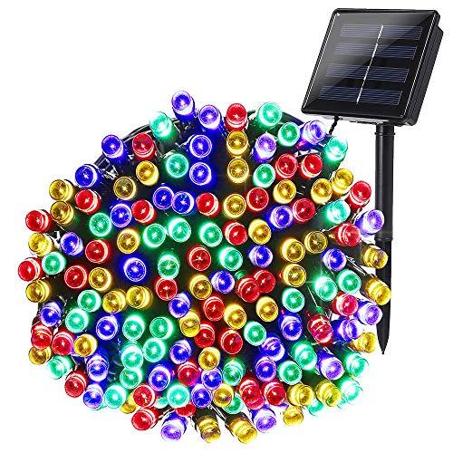 Qedertek Luci Natale Esterno Solare, Luci Albero di Natale 22M 200 LED, Luci Natalizie da Esterno Impermeabile IP65, Luci Colorate Addobbi Natalizi, Luci Decorazioni Natale, Giardino, Terrazza