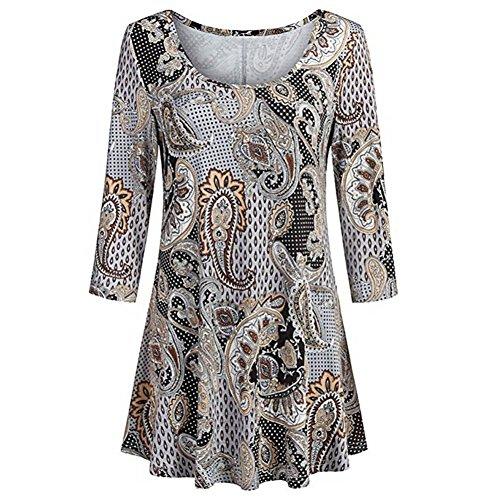 ESAILQ Damen Lose Asymmetrisch Sweatshirt Pullover Bluse Oberteile Oversized Tops T-Shirt(XXL,Braun)