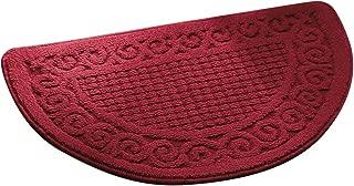 Olpchee Half Round Non-Slip Kitchen Bedroom Toilet Doormat Floor Mat, Red