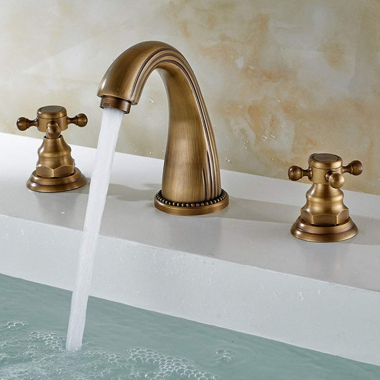 Solid Brass im europischen Stil 8-16 Zoll Zwei Handles 3 Widespread Bathroom Sink Faucet, Antique Brass