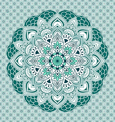 Miracle Home Mandala/Pareo Multi 306, 100% Algodón, Verde, 210X240