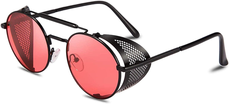 RUICHUANGS Gafas Sol Steampunk, Retro Redondas Gafas De Sol Hombres Mujeres, UV 400 Protección Lateral Marco De Metal