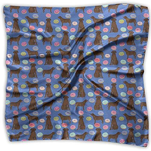 Uridy Lady Ideal Gift - Pañuelo de seda Mujer Satén cuadrado Pañuelo en el cuello Cuello Bufanda Moda Abrador Retriever Perros Mascotas Laboratorios de chocolate Donuts Pañuelo grande ligero y suave