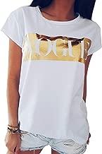 Women's Saying Printed Summer Tank Tops Short Sleeve Vogue Graphic Tee Shirts