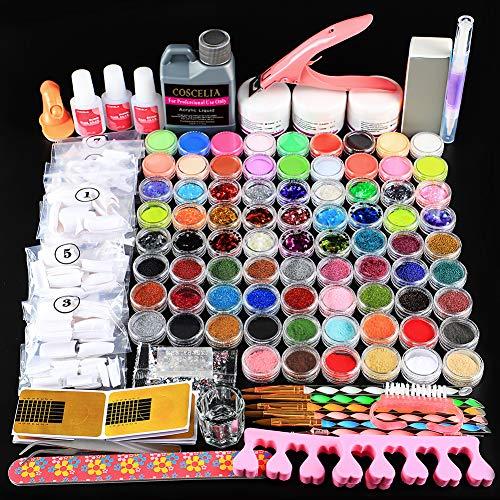 COSCELIA Kit Completo de Manicura Acrílicas Arte Uñas Ideas para Diseño de Uñas