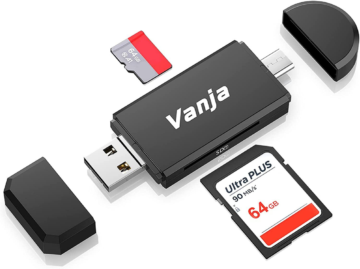Vanja Type C Card Reader, 3-in-1 USB 2.0 Portable Memory Card Reader and Micro USB to USB C OTG Adapter for SD-3C SDXC SDHC MMC RS-MMC UHS-I Cards.