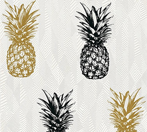 A.S. Création Vliestapete Club Tropicana Tapete mit Ananas 10,05 m x 0,53 m creme schwarz weiß Made in Germany 359971 35997-1