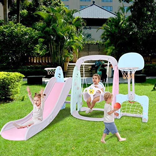 HSMQ Toddler Climber and Swing Set 5 in 1 Indoor & Outdoor Slide Swing Playset Basketball Hoop Music Player Football Gate Easy Climb Stairs for Infant Playground Games (Multicolour)