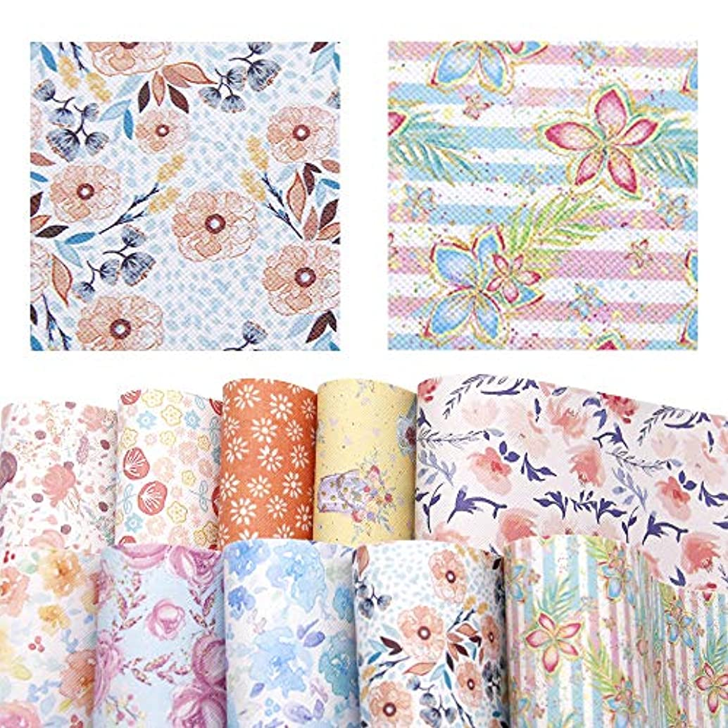 David accessories Flower Floral Pattern Printed Faux Leather Sheet Synthetic Leather Fabric 10 Pcs 8