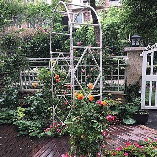 GMF Arcos para Jardín Acero, Arco Jardín para Varias Plantas Trepadoras, Patio Trasero del Césped del Jardín Al Aire Libre (Blanco)