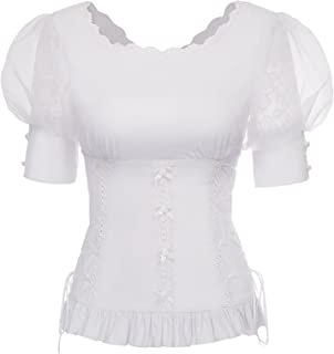 Best white gothic blouse Reviews