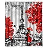 FMSHPON Duschvorhang Paris Eiffelturm Rot Modern Art Paare Liebhaber Valentinstag Europa Herbst Ahorn 152,4 x 182,9 cm