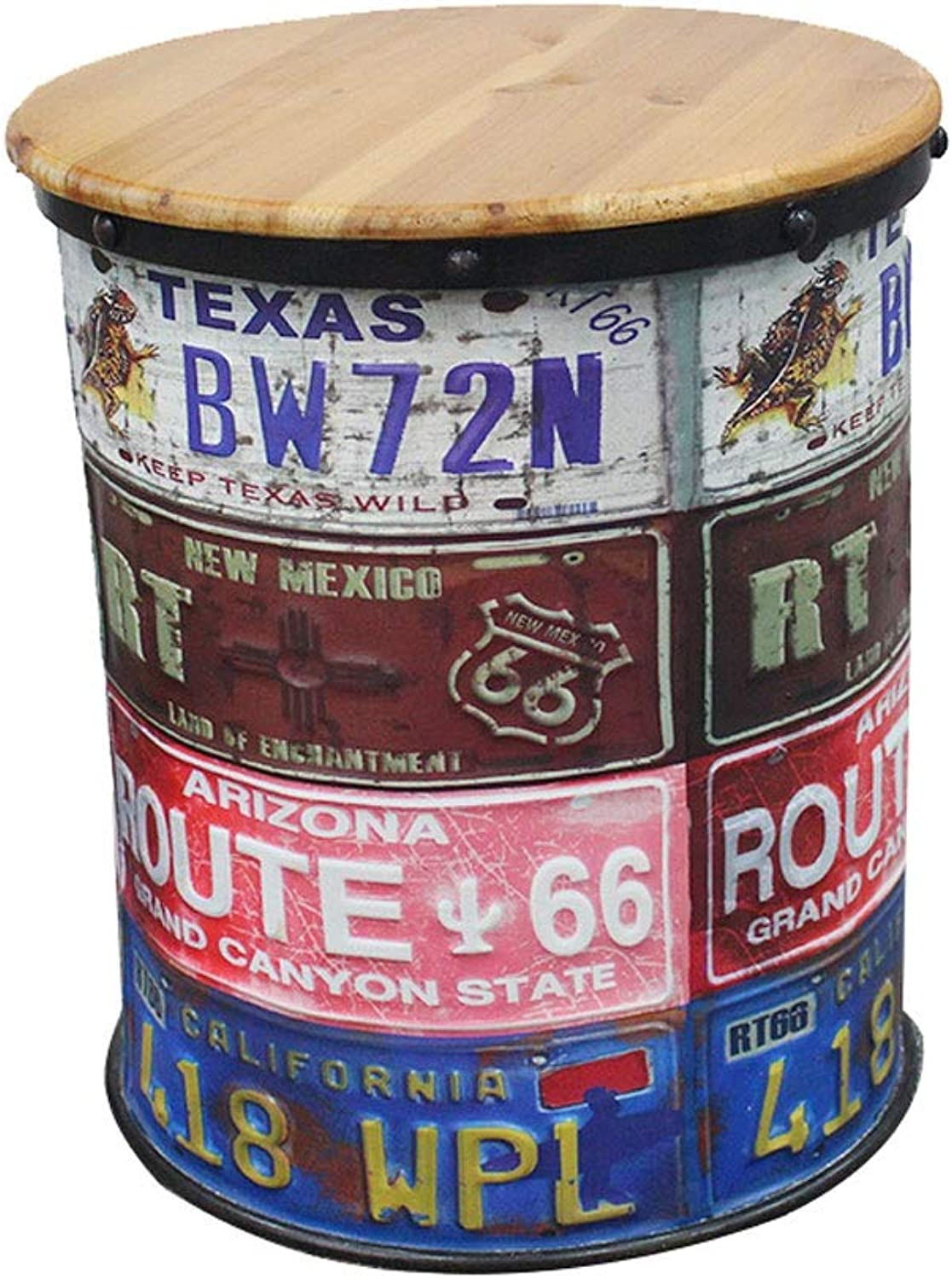 Ailj Bar Chair, Vintage Oil Drum Stool United States Rural Storage Stool Decorative Tin Bucket Bar Stool 2 colors (color   A)
